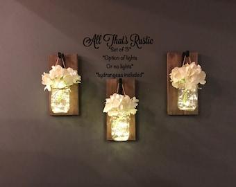 Set of 3 Mason Jar Sconces, Wall Sconces, Mason Jar Sconces, Rustic Home Decor, Home Decor, Wall Decor, Farmhouse Decor, Lighted Mason Jars