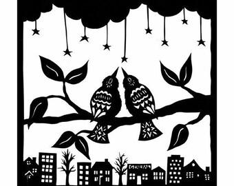Starry Night - 8 x 8 inch Cut Paper Art Print