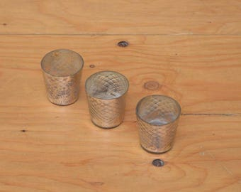 Set Of Three Silver Mercury Small Glass Candles