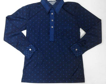 RARE Mens Vintage: Small 70's Long Sleeve Polyester Shirt, Wide Collar, Half-Button Down