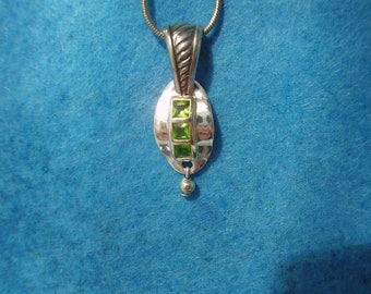 Sterling Silver One of a Kind Peridot Pendant