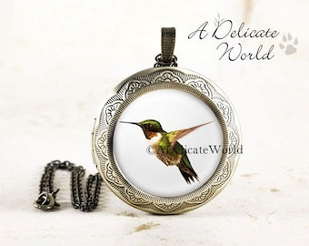 Hummingbird Locket - Bronze Bird Locket, Ruby Throated Hummingbird Jewelry, Bird in Flight, Bird Photo Locket, Nature Jewelry, Bird Lover