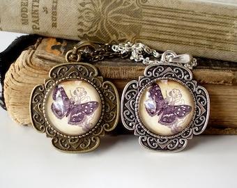 SALE - Emperor Moth Necklace in Bronze or Silver