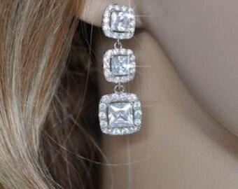 Graduated Triple Princess Square Cut Cubic Zirconia CZ Halo Dangle Bridal Earrings, Bridal, Wedding (Sparkle-1805)