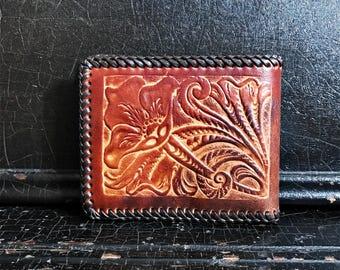 Vintage Leather Wallet | Folk Art | Handcrafted | Hand Tooled | Flowers & Dog