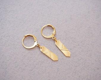 Boucles d'oreilles MINI LOUVRE dorée à l'or fin 24 carats