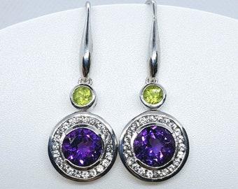 Peridot, Amethyst & White Sapphire Earrings, Sterling Silver, NEW