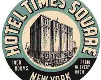 Vintage Style Hotel Times Square New York City Manhattan Travel Decal sticker