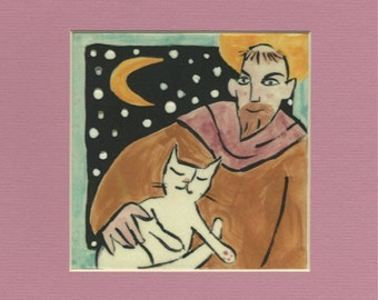 "St. Francis' White Cat - 8x8"" Matted Print"