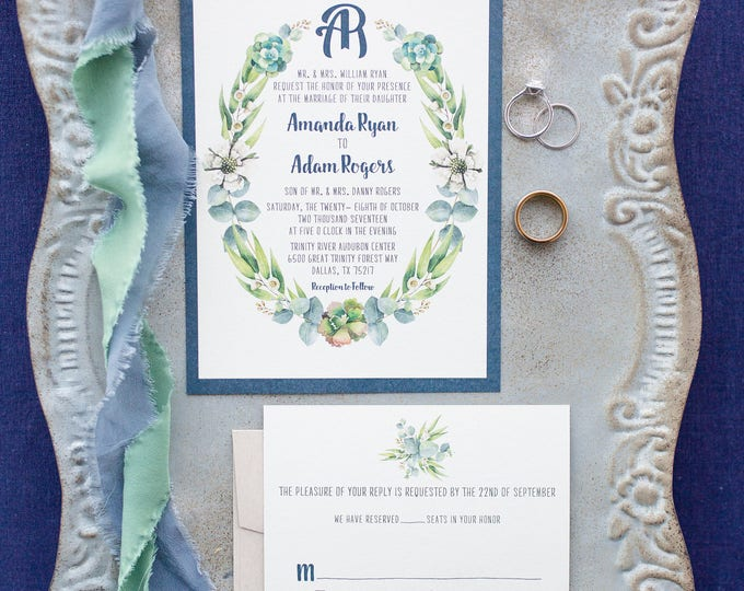 Navy and Kraft Paper Greenery Wreath Laurel Leaves Branches Succulents Wreath Monogram Wedding Invitation with RSVP - Other Colors Available