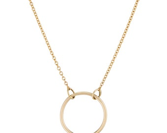 14K Gold Circle Necklace, Dainty Necklace, made to order for you in 3-5 days, Gift for Her
