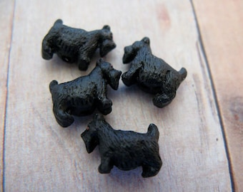 20 Tiny Black Scotty Dog Beads