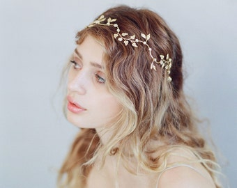 Bridal headband - Dainty gilded tiny leaf charm headband - Style 740 - Made to Order