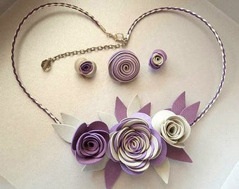 Jewelry sets (necklace, earrings and ring) synthetic leather roses