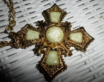 "Vintage Cross Necklace 24"" Celtic Cross Ornate Cross Necklace  Gold Tone Faux Jade 3"" X 3"""