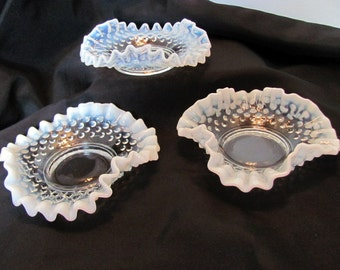 3 Fenton Ruffled Dish French Opalescent Hobnail from 1940's