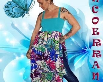Asymmetric tunic, long summer tunic, 'Tropic' flowers...'