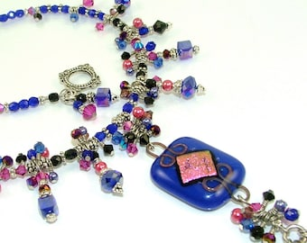 "MAJOR MARKDOWN - Stunning Cobalt & Magenta ""Queen's Cascade"" Beaded Dichroic Fused Glass Statement Necklace-OOAK"