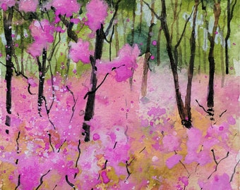 Azaleas, an original gouache painting by Tracy Butler