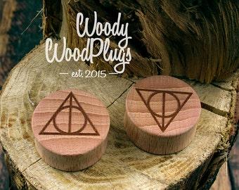 Harry Potter plugs Deathly Hallows -plugs harry potter- wood ear plugs -personalized plugs - Harry Potter ear plugs -ear gauges Harry Potter