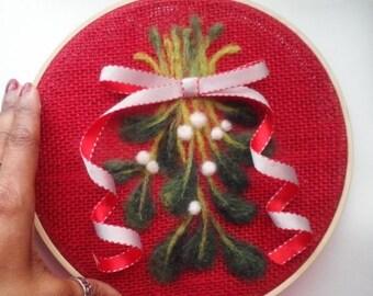 "Embroidery Hoop Mistletoe Needle Felting 8"" READY TO SHIP"