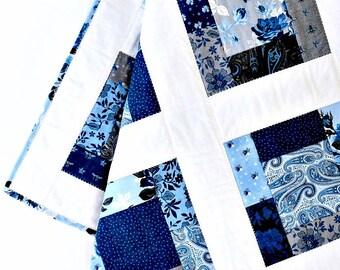 "Baby Girl Quilt Navy Black Blue Patchwork Quilt Baby Shower Gift Baby Gift Handmade Patchwork Floral Baby Blanket Nursery ~ ""Something Blue"""