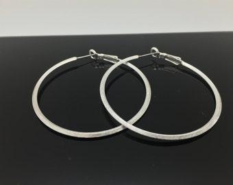 Thin Silver Hoop Earrings // Brushed Finish // Tarnish Resistant // Steel Ear Wires // Fashion Hoop Earrings