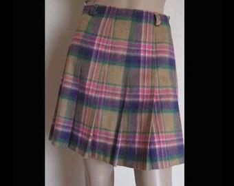 Vintage 'Twiggy' 60s skirt pleated skirt wool mini skirt S