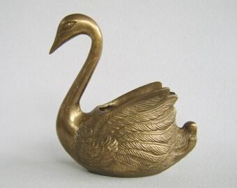 Vintage Brass Swan, Solid Brass Swan, Swan Figurine, Bird Paperweight, Brass Swan Dish, Vanity Dish, Brass Swan Planter, Succulent Planter