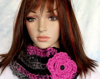 Cowl Scarf - Hot Pink, Gray and Black with Hot Pink Flower