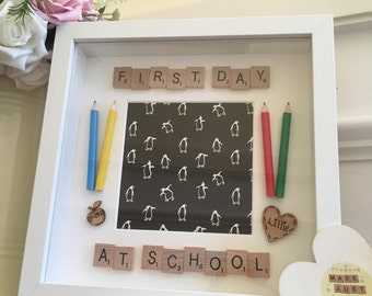 First day at school photo frame with scrabble letters and crayons- lovely gift idea