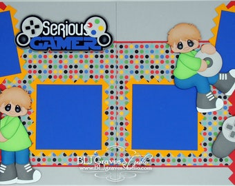 2 Premade Boy Scrapbook Pages Serious Gamer 12x12 Layout Paper Piece Die Cuts Handmade 32