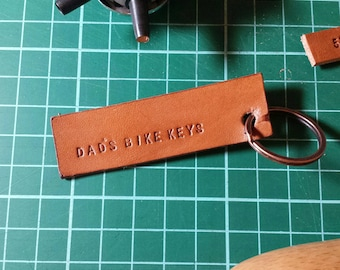 Leather DAD'S BIKE KEYS Keyring Keychain