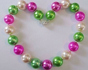 Chunky Bead Pearly Necklaces (green/purple/ivory)