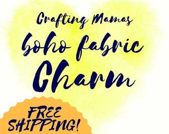 Boho fabric journaling OOAK book charm