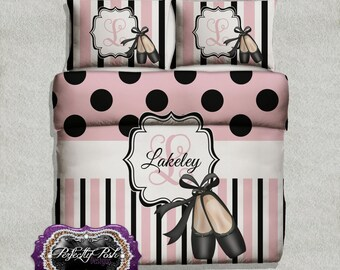 Ballet Pointe Shoes Dancer Theme Bedding Custom Design and Personalized Comforter or Duvet with Monogram