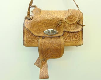 Vintage 40's Tooled Leather Saddle Purse, Made in Mexico, FAT