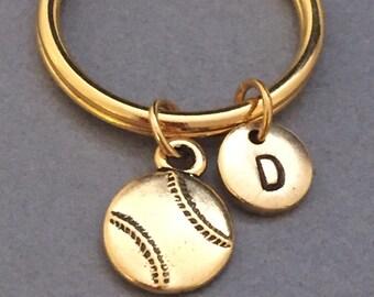 Baseball keychain, baseball charm, sports keychain, personalized keychain, initial keychain, customized keychain, monogram