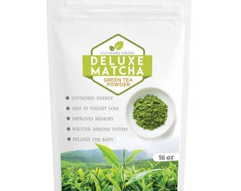 Japanese Deluxe Matcha- Premium Quality Green Tea Powder- 100% Organic- Perfect for Beverages & Cakes, Grade A- FREE USA Shipping