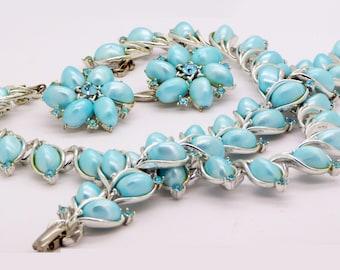 Vintage Lisner Sky Blue Thermoset Rhinestone Parure, Necklace, Bracelet and Earrings