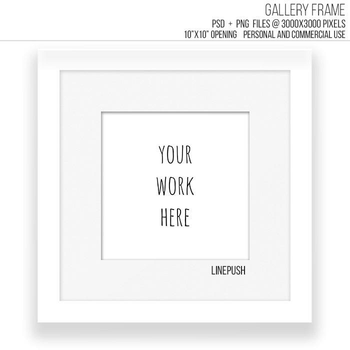SALE White Modern minimalist Square gallery frame template.