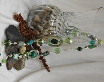 Green Mother of Pearl and Glass Bead Long Necklace
