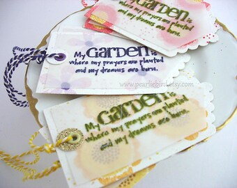 Garden Prayers Gift Tags~set of 6~scalloped tags~hang tags~kitchen gift tags~home canned labels~summer flower tags~purple~yellow~pink~floral