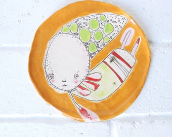"Ceramic Art Plate- Hand Built Ceramic Plate, Decorative Ceramic Art ""Simone"""