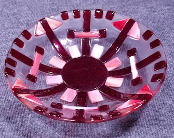 """Reds and corals 10"""" Fused Glass Serving Bowl"""