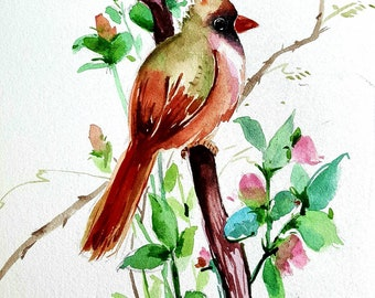 Watercolor original painting,Art work,Wallart,8x10 small painting,One of a kind,watercolor bird,green bird art, Jay bird art,gray bird art.