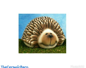Ceramic Laying Hedgehog | Ready to Paint | Ceramic | Hedgehog | NOT PAINTED