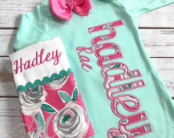 Baby Girl Coming Home Outfit - Mint Sleeper With Bow - Baby Gown with Name - Monogrammed Baby Gown