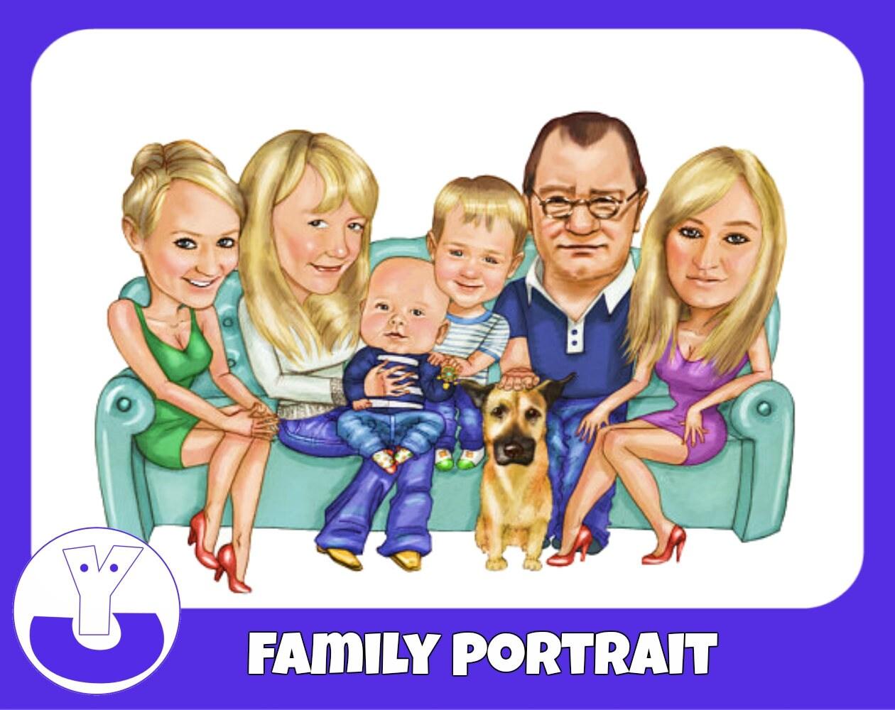 portrait de famille personnalis personnalis de la famille. Black Bedroom Furniture Sets. Home Design Ideas