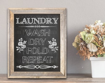 Printable: Chalkboard Farmhouse Laundry Room Wall Decor 5x7, 8x10 and 11x14 sizes included!!!